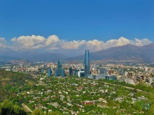 Santiago skyline with the Andes in the background